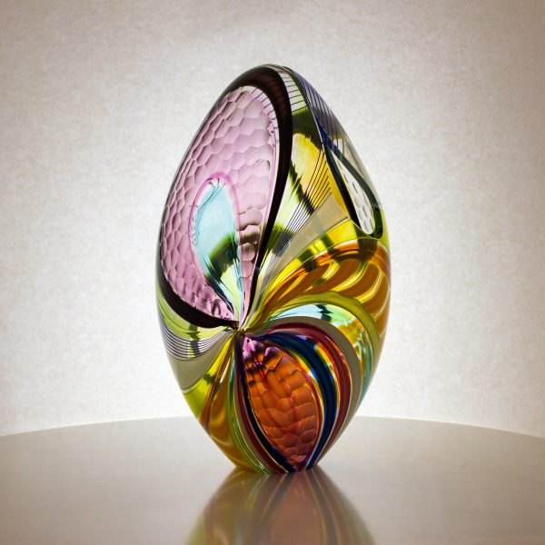 Stunning hand blown, multi colored glass egg .