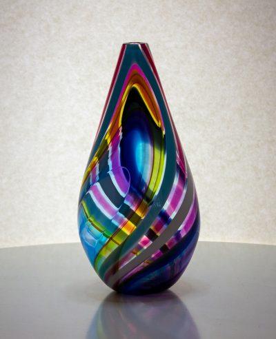 gorgeous multi colored teardrop shaped vase