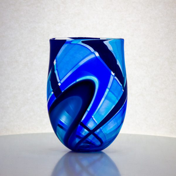 Gorgeous hand blown flat glass vase in bands of blue