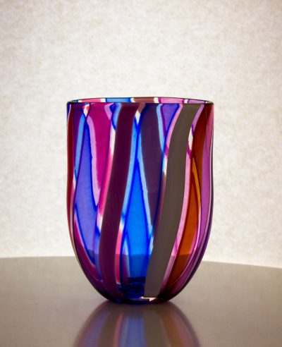 purple, blue and pink striped hand blown glass vase