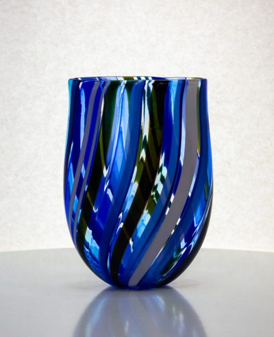 blue striped flat hand blown glass vase