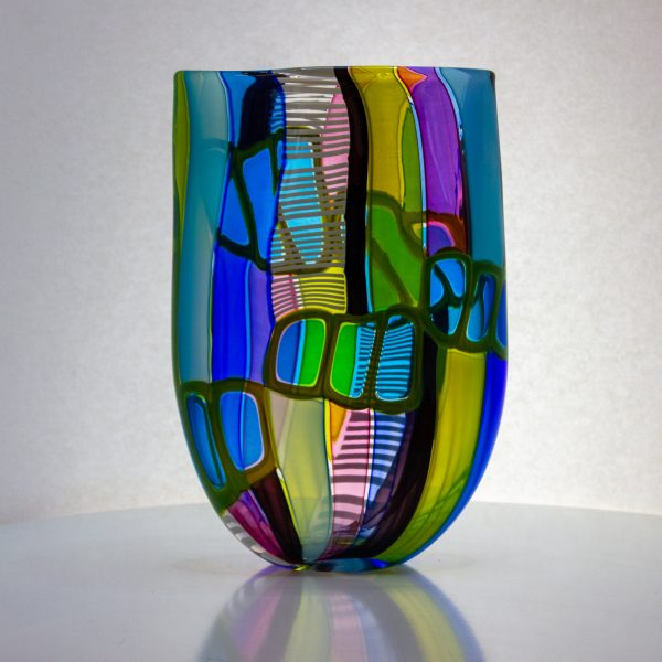 Multi colored flat vase with open top