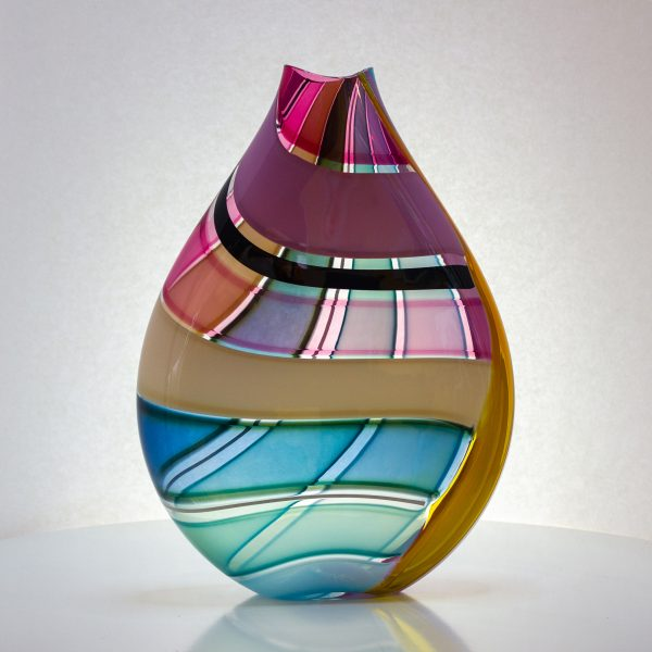 Large pink, white and blue striped hand blown glass vase.
