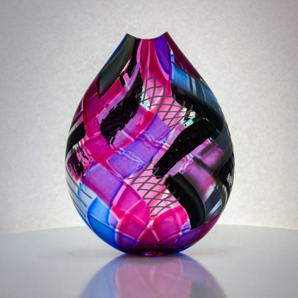 Fabulous pink, white and black hand blown glass art vase.