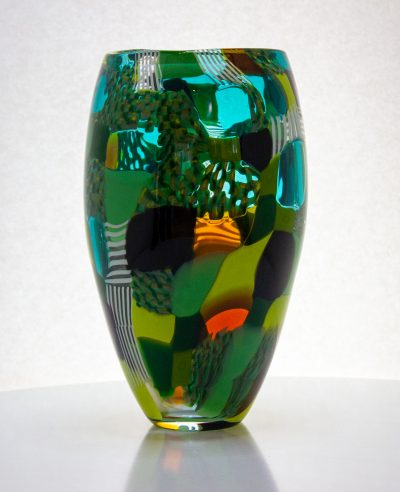 Fabulous large glass vase with squares of greens and yellows