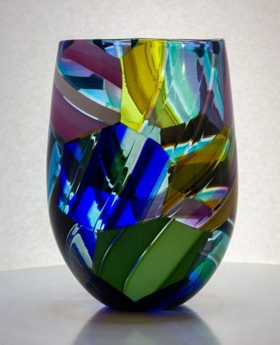 Stunning large hand blown glass vase with striped colored hexagons