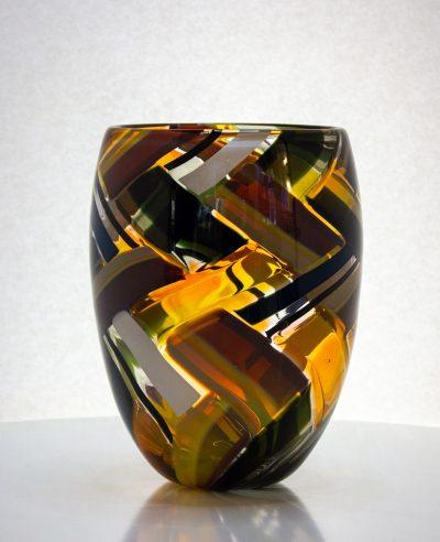 amazing amber, white and black colored basket shaped vase