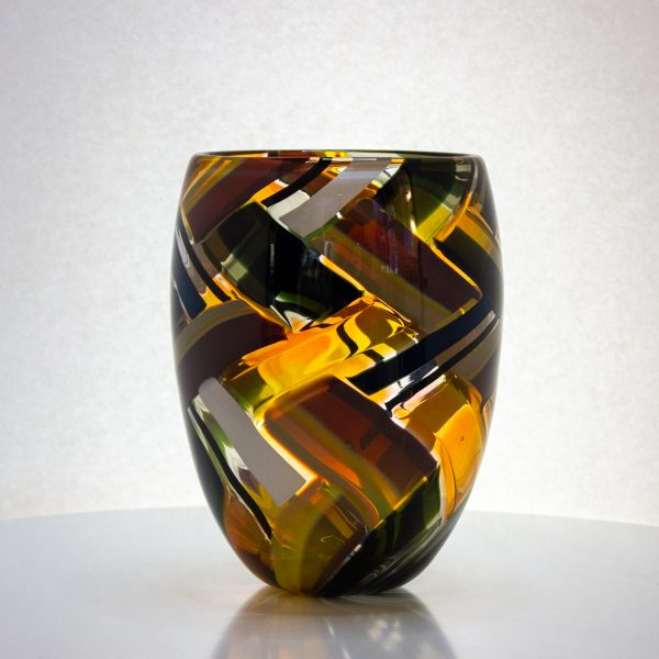 amazing amber, white and black colored basket shaped vase