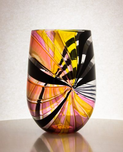 Gorgeous yellow, black and pink vase