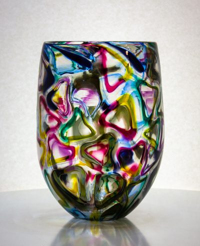 Amazing glass vase with triangles of different colors