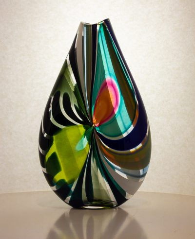 gorgeous blue, pink and black hand blown artglass vase