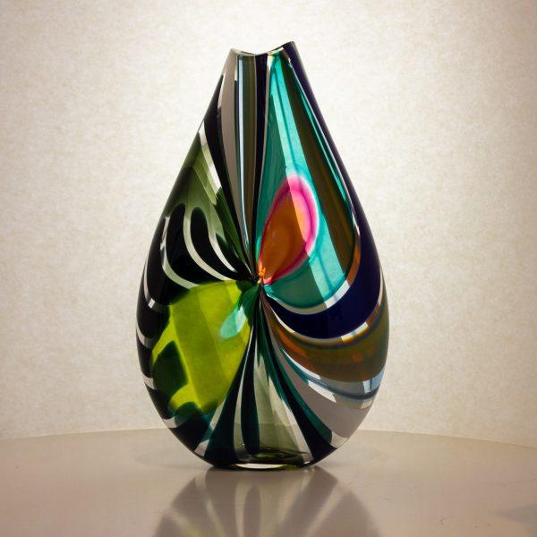 gorgeous blue, pink and black hand blown artglass vase