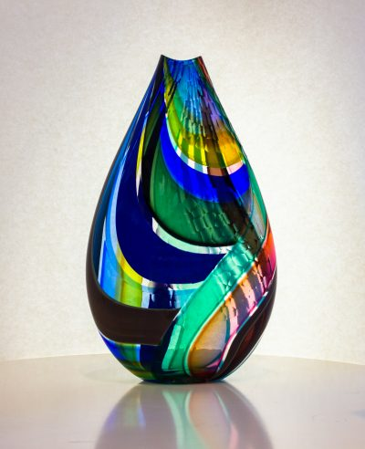 Fabulous hand blown glass vase in shades of blue