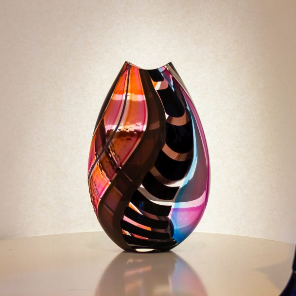 Pink, black and blue and blown glass vase