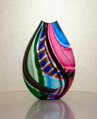 Vibrant hand blown glass vase with murrine accents