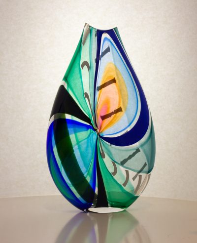 Gorgeous blue and white striped hand blown glass vase.