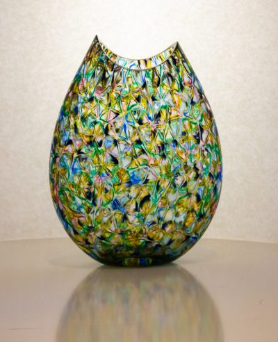 Super unique hand blown flat vase in blue, amber and green