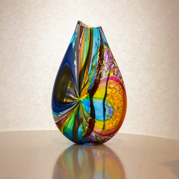 Amazing multi colored hand blown glass vase.